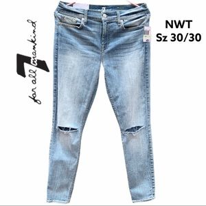 🛍NWT🆕7 for all Mankind Ankle Skinny Jeans sz 30